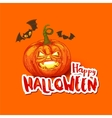 Halloween card with pumpkin and bats vector image