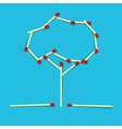 Retro Tree Made From Matches on Blue Background vector image