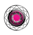 Stylized photography logo in pink and black vector image