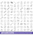 100 game icons set outline style vector image