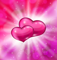 Shimmering background with beautiful hearts for vector image vector image