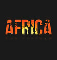 african landscape with trees and sun lettering vector image