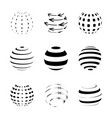 black and white sphere logo set isolated on white vector image