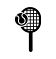 black icon tennis racket and ball cartoon vector image