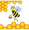 Cartoon bee with brimful jar vector image