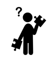 Confusion Man with Puzzle People with Question vector image
