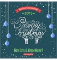 Hand drawn Merry Christmas lettering with a cute vector image