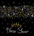 happy new year icons greeting card vector image