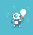 modern robot hold light bulb artificial vector image