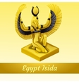 Monument is of the Egyptian Queen Isida in gold vector image
