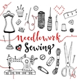 Needlework and sewing equipment and elements vector image
