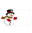 Snowman pointing on a banner vector image
