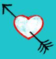 red arrow piercing black heart vector image
