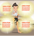 woman thai boxing action pose template vector image
