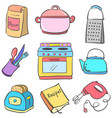 collection kitchen equipment colorful doodle vector image