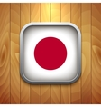 Rounded Square Japan Flag Icon on Wood Texture vector image
