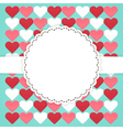 Blue card template with pink red white hearts vector image