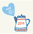 New year and christmas teapot vector image