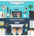 Set of web design and development process banners vector image