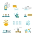Set icon investment negotiation correspondence vector image