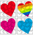 puzzle with a variety of hearts vector image vector image