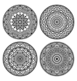black circle mandala set vector image