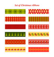 set of bright christmas ribbons with ornaments vector image