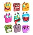 Square Face Colorful Emoji Set vector image