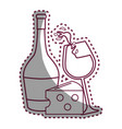sticker line glass splashing wine and bottle and vector image
