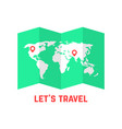 green road map with world image vector image