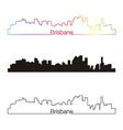 Brisbane skyline linear style with rainbow vector image