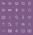 Photography line icons on violet background vector image