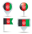 Map pins with flag of Afghanistan vector image