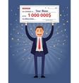 Man holding winning check for one million dollars vector image