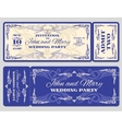 vintage ticket wedding invitation vector image