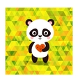 cute little panda on triangles background vector image
