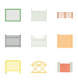 decorative fence icons set cartoon style vector image