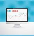 flat monitor or personal computer with live chart vector image
