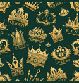 gold crown king icons set nobility collection vector image