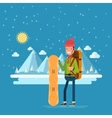 Happy man with a snowboard on a background of vector image