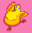 Little chicken on pink vector image