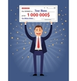 Man holding winning check for one million dollars vector image