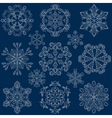 Vintage ornamental snowflake set in zentangle vector image