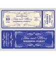 vintage ticket wedding invitation vector image