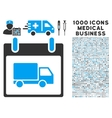 Delivery Car Calendar Day Icon With 1000 Medical vector image