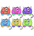 Six colorful monster heads vector image vector image