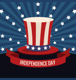 independence day usa hat flag and stars vector image