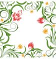 background with flowers and branches vector image