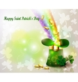 St Patricks day green hat with rainbow vector image