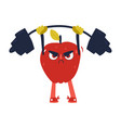 funny apple working out in gym lifting barbell vector image